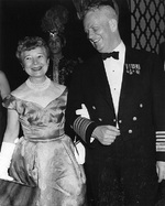 Admiral and Mrs. Arleigh A. Burke at the Navy Day Ball at the Coconut Grove, Los Angeles, California, United States, 22 Oct 1960