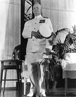 Admiral Burke at his retirement ceremony as US Navy Chief of Naval Operations, US Naval Academy, Annapolis, Maryland, United States, 1 Aug 1961
