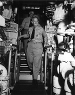 Rear Admiral Burke touring nuclear submarine USS Nautilus, New London Submarine Base, Groton, Connecticut, United States, 31 May 1955