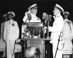 Admiral Burke taking oath as US Navy Chief of Naval Operations, Dahlgren Hall, US Naval Academy, Annapolis, Maryland, United States, 17 Aug 1955; Rear Admiral Ira Nunn was administering the oath