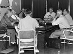 US Joint Chiefs of Staff meeting with Secretary of Defense, Ramey Air Force Base, Puerto Rico, Apr 1956; L to R: Radford, Wilson, Taylor, Burke, Pate, Phillips