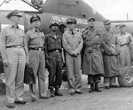 United Nations delegates to the Korean armistice negotiations: Rear Admiral Burke, Major General Cragie, Major General Paik, Vice Admiral Joy, General Ridgway, and Major Hodes. 10 Jul 1951