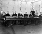 General Board of the US Navy, Washington DC, United States, Nov 1947: Col R. Pate, RAdm W. F. Boone, VAdm C. McMorris, Adm J. Towers, RAdm C. Momsen, Capt Huffman, Cmdr Lee, Capt A. Burke