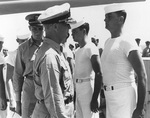 Captain Burke inspecting the crew of USS Huntington, Nov 1948