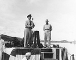 Captain Burke introducing Rear Admiral Aaron Merrill to the crew of Charles Ausburne and Claxton during an awards ceremony held on board Charles Ausburne, Purvis Bay, Solomon Islands, 30 Jan 1944