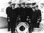 Officers of destroyer Mugford Ens. Robert Main, Lt. Ephraim McLean, Lt. Robert Speck, Lt. Cmdr. Arleigh Burke, Ens. Arthur Johnson, Lt. Gelzer Sims, and Lt. (jg) Robert Holmes, Jun 1939