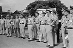 Chiang Ching-kuo with Republic of China military officers during an exercise, Taiwan, 28 Jun 1963