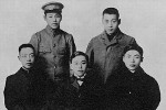 Portrait of Chiang Kaishek, as a cadet at a Japanese military academy, with friends, 1907