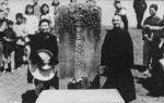 Chiang Kaishek at the Chiang ancestral grave, Yixing County, Jiangsu Province, China, 16 May 1948, photo 1 of 2