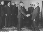 Vasily Chuikov and Otto Grotewohl at the founding of East Germany, Berlin, 7 Oct 1949, photo 1 of 2