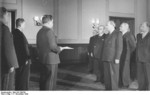 Vasily Chuikov, Otto Grotewohl, and Walter Ulbricht at the founding of East Germany, Berlin, 7 Oct 1949