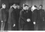Vasily Chuikov, Otto Grotewohl, Hermann Kastner, Otto Nuschke, and Walter Ulbricht at the founding of East Germany, Berlin, 7 Oct 1949, photo 2 of 2