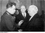 General Vasily Chukov (left) and Ambassador Vladmir Semyonov (background) with President Wilhelm Pieck (right), Berlin, East Germany, 3 Jan 1951