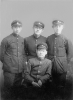 Students Chung Il-kwon (seated), Jang Jun-ha (left), Moon Ik-hwan (center), and yun Dong-ju (right), 1930s