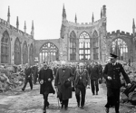 UK Prime Minister Winston Churchill inspecting the ruins of the Coventry Cathedral, England, United Kingdom, 28 Sep 1941