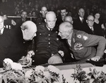 Churchill, Eisenhower, and Montgomery at a reunion of the British 8th Army, 19 Oct 1951