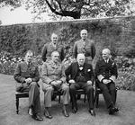 Churchill with his Chiefs of Staff at a luncheon at 10 Downing Street, London, England, UK, 7 May 1945