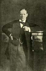 Portrait of Member of Parliament Winston Churchill, seen in Aug 1904 edition of Review of Reviews