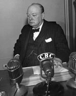 Winston Churchill at the Quebec Conference, Canada, mid-Aug 1943
