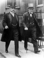 Canadian Prime Minister Robert Borden and British First Lord of the Admiralty Winston Churchill in London, England, United Kingdom, 1912