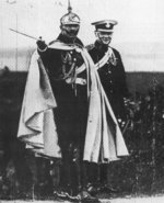 Winston Churchill with German Emperor Wilhelm II observing a military maneuver near Breslau, Silesia, Germany, 1906