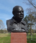 Bust of Winston Churchill at the Franklin D. Roosevelt Presidential Library and Museum, Hyde Park, New York, United States, 14 Apr 2012