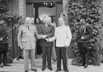 Churchill, Truman, and Stalin shaking hands during the Potsdam Conference, Germany, 23 Jul 1945, photo 3 of 3