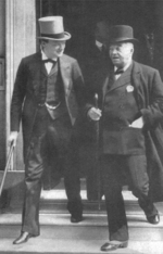 British Admiral of the Fleet The Lord Fisher and First Lord of the Admiralty Winston Churchill after a meeting of the Committee of Imperial Defence, London, England, United Kingdom, 1913