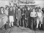 Winston Churchill with the crew of HMS Kimberley off southern France, 14-16 Aug 1944