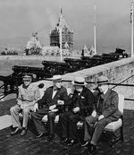 Governor General of Canada and Earl of Athlone Alexander Cambridge, US President Franklin Roosevelt, British Prime Minister Winston Churchill, and Canadian Prime Minister Mackenzie King at the Quebec Conference, Canada, 12 Sep 1944