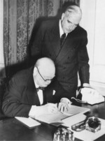 Australian Prime Minister Robert Menzies and British Prime Minister Winston Churchill in Churchill