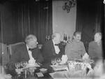 Franklin Roosevelt, Winston Churchill, and Joseph Stalin at the Victorian Drawing Room of the British Legation in Tehran, Iran, 30 Nov 1943 in celebration of Churchill