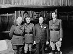 Polish General Wladyslaw Sikorski, Canadian General Andrew McNaughton, British Prime Minister Winston Churchill, and French General Charles de Gaulle, 1941