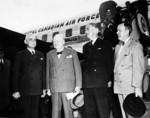 Canadian Prime Minister Louis St-Laurent, British Prime Minister Winston Churchill, British Deputy Prime Minister Anthony Eden, and Canadian Secretary of State for External Affairs Lester Pearson at Rockcliffe Airport, Ottawa, Canada, 29 Jun 1954