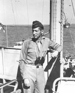 Clark aboard USS Ancon, off Salerno, Italy, 12 Sep 1943