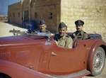 Keith Park and Arthur Coningham in a MG roadster at Malta, Jun 1943