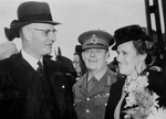 Australian Prime Minister John Curtin and his wife Elsie at the launch of HMAS Fremantle, Brisbane, Australia, 18 Aug 1942