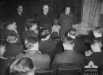 John Curtin speaking to pilots of No. 463 (Lancaster) Squadron RAAF at RAF Waddington, Lincolnshire, England, United Kingdom, 19 May 1944