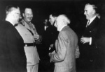 Prime Minister John Curtin, Governor General Prince Henry, former Prime Minister Arthur Fadden (background), former Prime Minister Billy Hughes, and former Prime Minister Robert Menzies, 30 Jan 1945