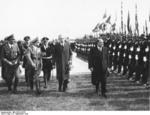 German SS formation welcoming French Prime Minister Daladier to Munich, Germany, 29 Sep 1938, photo 2 of 3; note Karl Fiehler, Adolf Wagner, and Ribbentrop slightly behind Daladier
