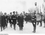 German SS formation welcoming French Prime Minister Daladier to Munich, Germany, 29 Sep 1938, photo 3 of 3; Ribbentrop also present