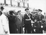 Daladier departing Munich, Germany, 30 Sep 1938; also present were Foreign Minister Joachim von Ribbentrop, Gauleiter Adolf Wagner, and SS officer Friedrich Karl von Eberstein