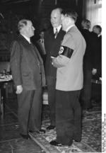 Daladier speaking to Hitler through interpreter Paul Otto Gustav Schmidt, Munich Conference, Germany, 29 Sep 1938