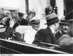 French Prime Minister Daladier and German Luftwaffe General Göring in an open-top sedan in Munich, Germany, 29 Sep 1938