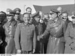 General Emil Leeb, Heinrich Lübke, Fritz Todt, and Walter Dornberger at Peenemünde Army Research Center, Germany, spring 1941