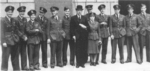 Dowding with an aide and several British fighter pilots outside the Air Ministry, London, England, United Kingdom, 14 Sep 1942