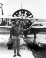 Captain Ira Eaker of US 34th Pursuit Squadron with a P-12 fighter, March Field, California, United States, 1934