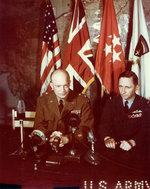 Eisenhower and Tedder addressed the world over radio and motion picture shortly after the signing of the German surrender documents, Rheims, France, 7 May 1945