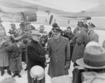US President Harry Truman and General Dwight Eisenhower at Washington National Airport, Arlington, Virginia, United States, 31 Jan 1951
