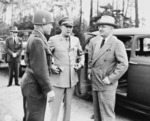 Brigadier General Doyle Hickey, General Dwight Eisenhower, and US President Harry Truman, Neuisenberg, Germany, 26 Jul 1945